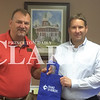 Duke Energy will be the title sponsor of the Gibson County Chamber of Commerce Golf Scholarship Tournament Friday, Aug. 5.  This golf outing helps the chamber provide three scholarships to each high school in Gibson County.  Chamber President J.D. Wildt  shakes hands with Kurt Phegley of Duke Energy.