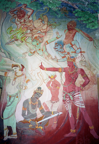 L0969 Mural of Buddha's life in Mulagandhakuti Vihara building, Dhamek Stupa site, Sarnath, Varanasi