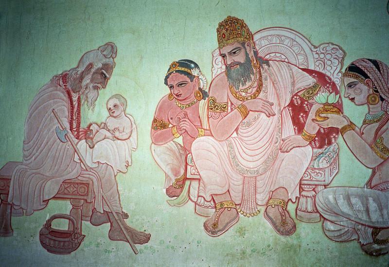 L0973 Mural of Buddha's life in Mulagandhakuti Vihara building, Dhamek Stupa site, Sarnath, Varanasi