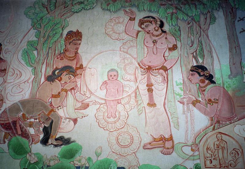 L0970 Mural of Buddha's life in Mulagandhakuti Vihara building, Dhamek Stupa site, Sarnath, Varanasi