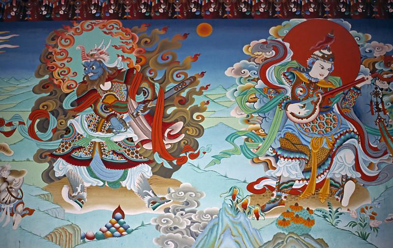L1658 Wall paintings, Tibetan Monastery, Bodh Gaya