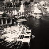 L2635 Hardwar ghat on Ganges with priest stations. infrared