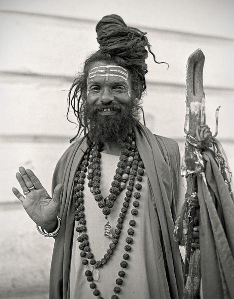 L2439 Shaiva sadhu with rudraksha seeds.