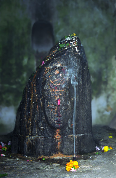L2484 Statue in temple with pipal tree, Rishikesh