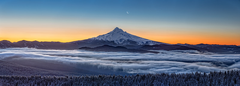Mount Hood and Moon