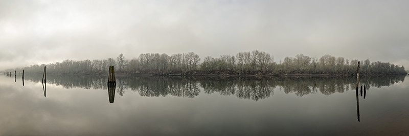 Foggy Sauvie Island Panoramic