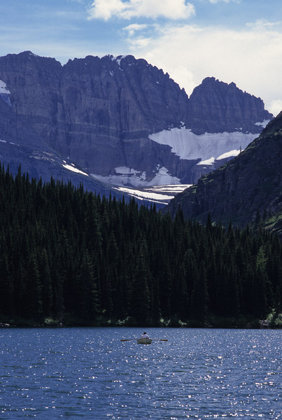 L6326 Swiftcurrent Lake with rowboat, Grinnell Glacier