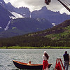 "L6155 Robin Williams and Annabella Sciorra filming ""What Dreams May Come"", Swiftcurrent Lake, Many Glacier area"