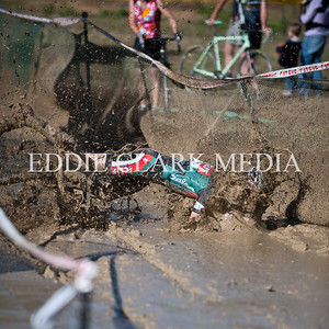 The mud pit sent this Clif Bar racer face first into the slop.