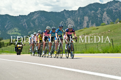 Anne Samplonius strings the Women's 1,2's out at the base of the Marshall Mesa climb.