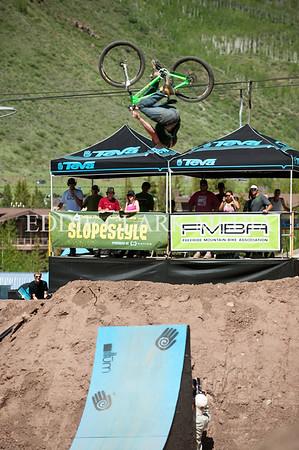 Slopestyle winner Eric Lawrenuk spent a good bit of the event inverted.