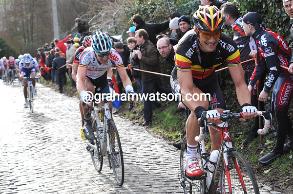 Tom Boonen makes his first move of the day - and splits the peloton to pieces on the Molenberg...