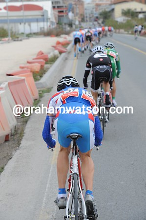 Another Alexandre - Ribakov - is struggling as the peloton speeds up in pursuit...