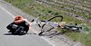 First crash of the day - an Euskatel rider hits the deck in some nasty crosswinds...