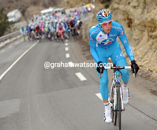 Pierre Rolland makes an attack on the penultimate ascent...but gets nowhere against Astana...