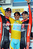 Contador, Valverde and Sanchez celebrate an all-Spanish podium in Nice.