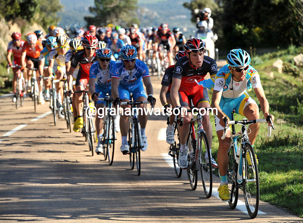 Astana leads a peloton of about 65 riders with less than 10-kilometres climbing to go...