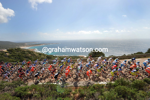 The peloton has let the duo go away to a ten-minutes lead - so they can enjoy the south coast of Corsica...