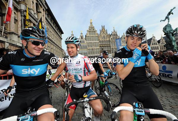 Brits' on tour - Ian Stannard, Adam Blyth and Ben Swift await the start in Antwerp...