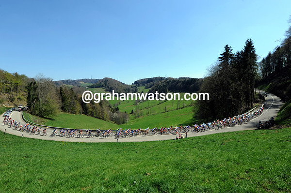 Another view of the office - the peloton in gentle pursuit in the Vaud mountains...