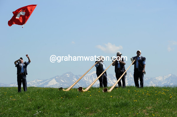Swiss muscians rehearse before serenading the Tour de Romandie with their Alpine horns...