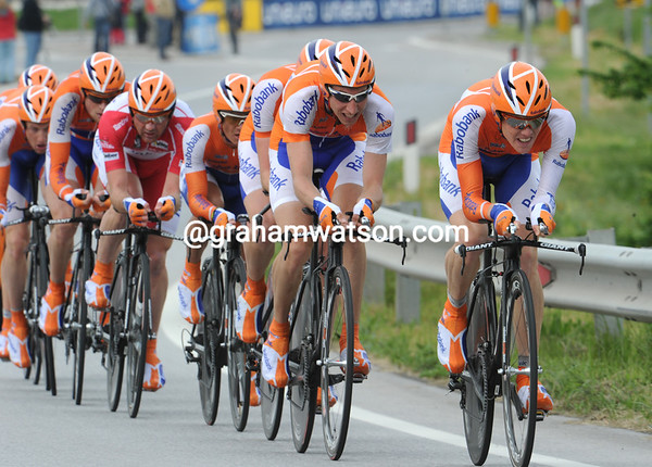 "The mighty Rabobank team took 11th place at 1' 04""..."