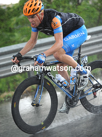 Bobridge has been blown out the back by the speed and heavy rain - it's a tough Giro baptism for the Aussie...