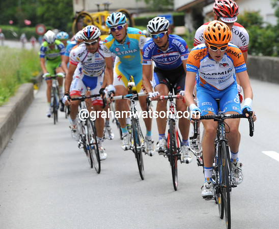 The race turns into Switzerland and the road rises steeply - Daniel Martin is now on the front...