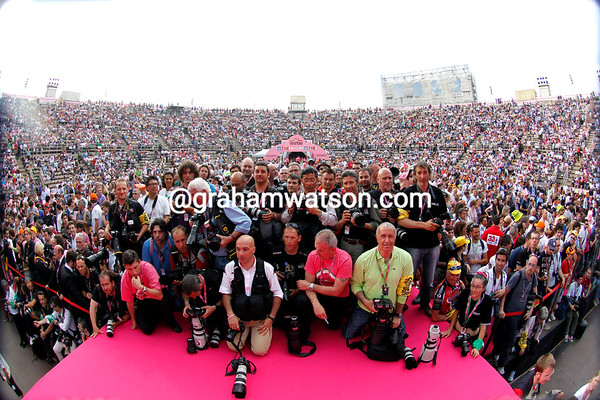 But the best team by far in this Giro was the photographers - they pose here in the Arena of Verona at the end of one of the greatest-ever Giro d'Italias...
