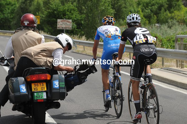 Pate and Denifl have just a TV camera for company on their extra-long ride today...