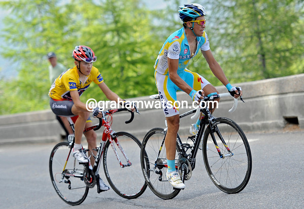 Alberto Contador has gone after Menchov, taking Brajkovic with him...