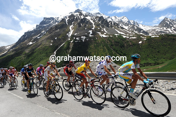Contador, Brajkovic and Van Garderen almost have time to enjoy the wonderful scenery, almost...