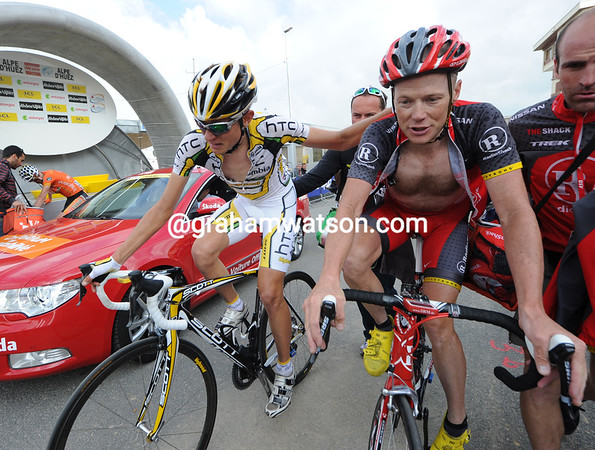 Van Garderen thanks Chris Horner for his help at the finish - young and old Americans together after a very tough day...