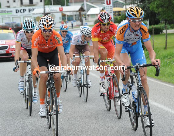 The early escapers include Egoi Martinez and Johan Van Summeren - about 20 men are in this move on the Col de Cucheron...