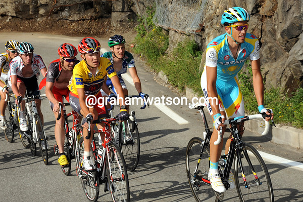 Contador and Brajkovic prepare for their battle on this legendary ascent...