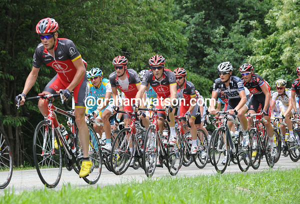 Radio Shack is in control at the head of the peloton, led by Chris Horner...