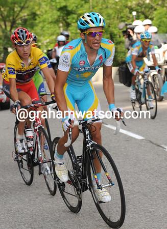 Contador makes his first attack about 12-kilometres up the climb...