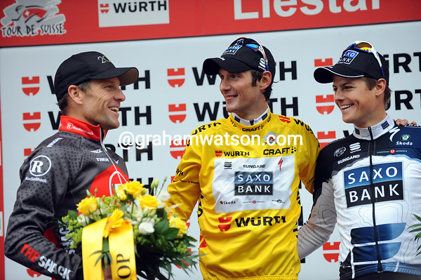 Race-winner Frank Schleck shares a joke with Lance Armstrong and Jacob Fuglsang - 1st, 2nd and 3rd in the 2010 Tour de Suisse...