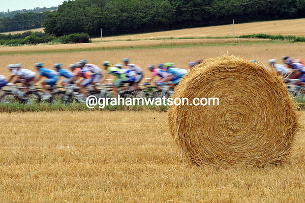 There's nothing but hay and cyclists in this remote part of France...