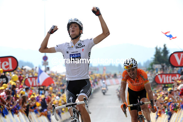 Andy Schleck wins stage eight ahead of Sammy Sanchez, the only rider able to match Schleck's attack...