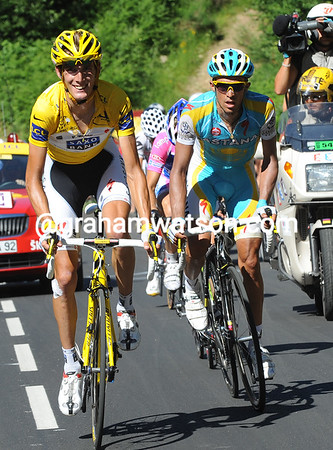 Schleck and Contador look a little lost as Menchov and Sanchez race away...