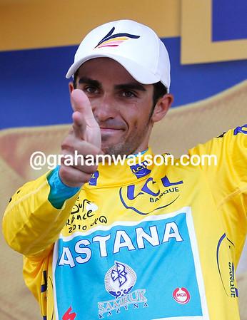 Alberto Contador produces his pistol salute - but has he actually shot himself for attacking Scheck in such a way..?