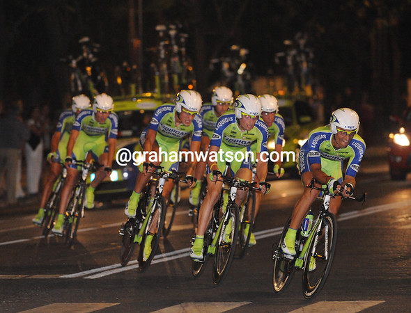 Liquigas took 2nd place, just 10-seconds off the winning pace...