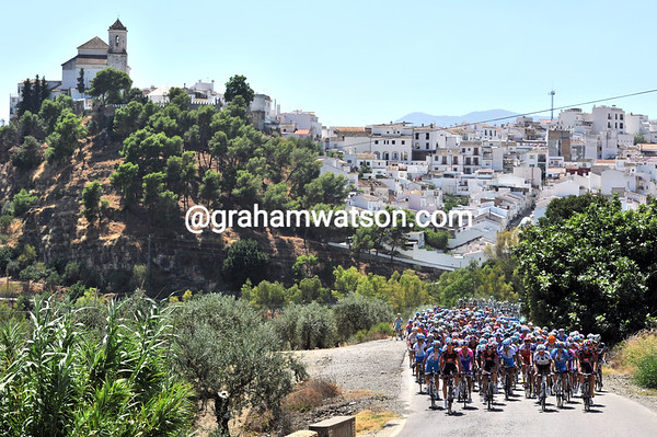 The peloton has slowed down in time to enjoy this stunning Andalucian hilltop village...