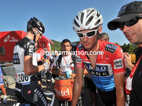 """Frank Schleck arrives 2'36"""" down on Moncoutie - his Vuelta chances have been dealt quite a blow..!"""