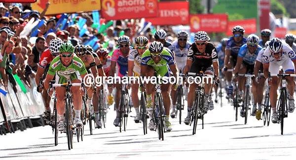 Mark Cavendish wins stage thirteen with a bunny-hop across the line - wave your arms as well please!