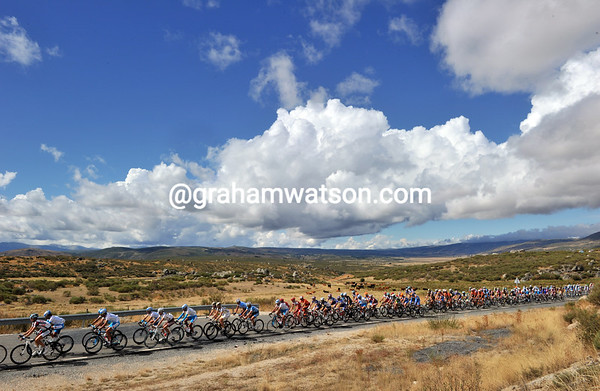 It's windswept, barren, beautiful and sunny as the peloton stretches out across the plains of Castille y Leon...