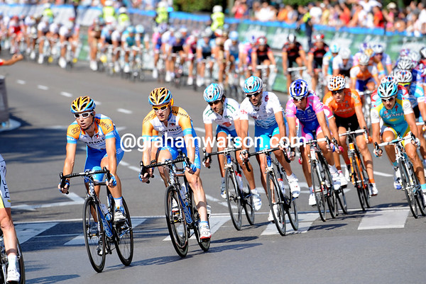 Garmin seem more than interested in the chase today - Wilson leads Farrar near the head of the peloton...