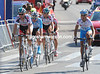 Five riders lead the Vuelta around the streets of Madrid, led by Kaisen and Rabunal...
