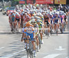 Vande Velde leads the peloton on the bell-lap...